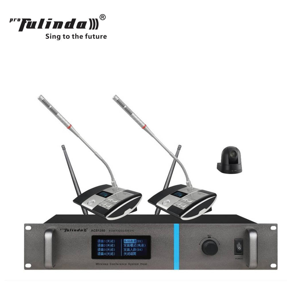 433MHz system four-way hand-in-hand wireless conference microphone with video tracking function from Enping city SANREN factory