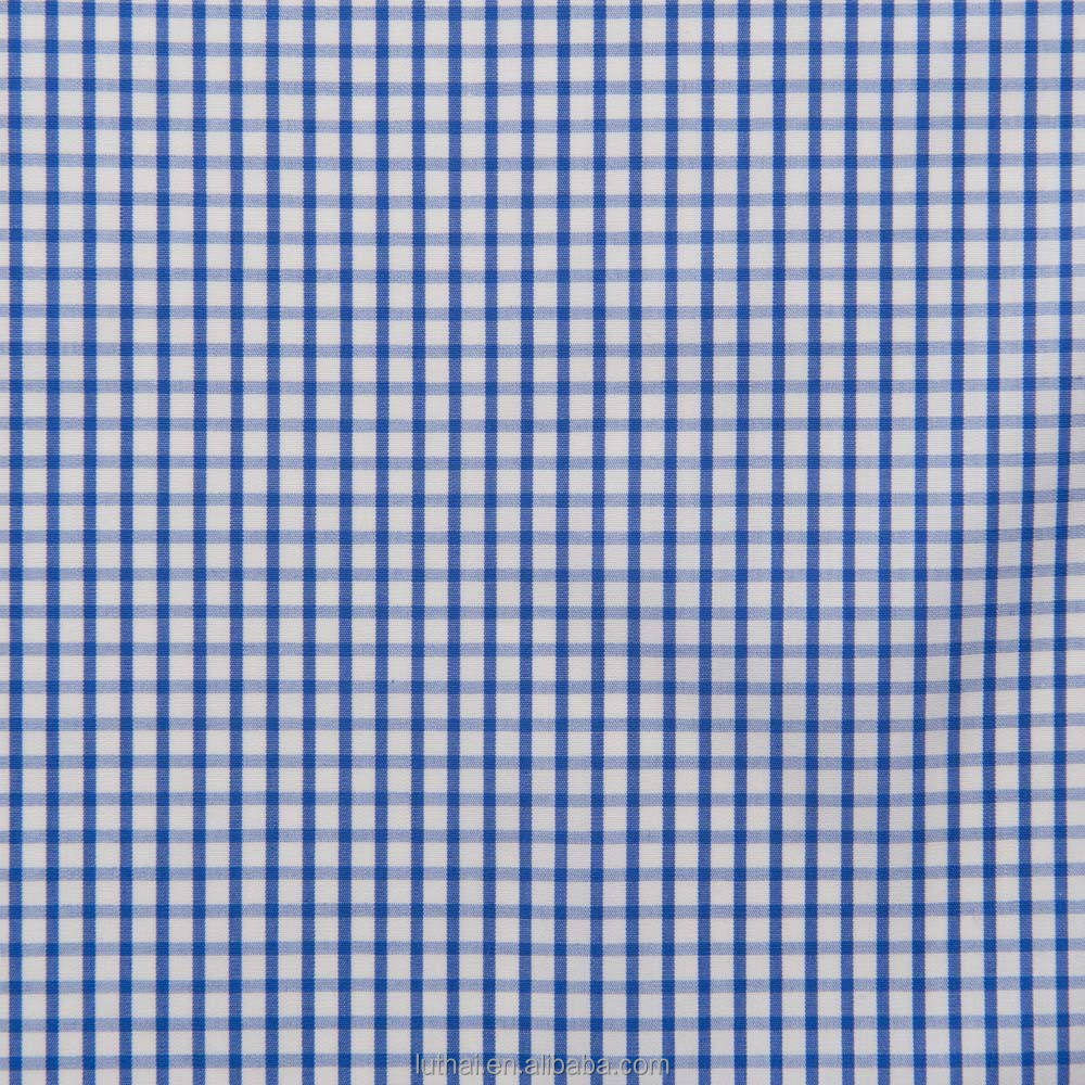 Luthai 100% cotton blue gingham check men's dress shirt fabric with 60s*60s 180*90