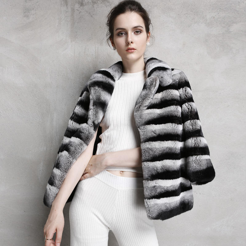 New Fashion Black And White Rex Rabbit Fur Thick Real Stripe Fur Chinchilla Coat Women