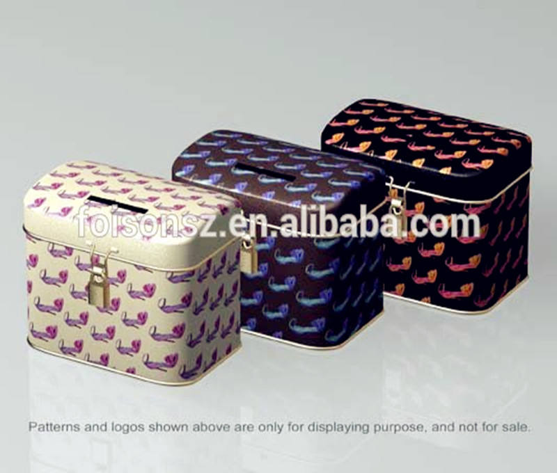 Stylish tins metal money saving can popular design various shape avaible existing mould tin can piggy bank food grade