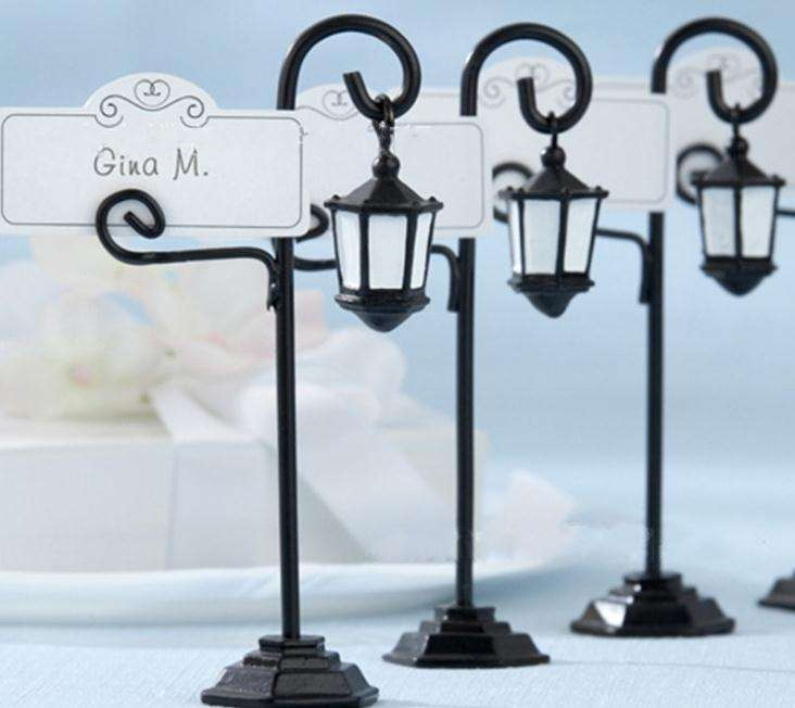 promotional high quality streetlight shaped place card holder for beach wedding souvenir