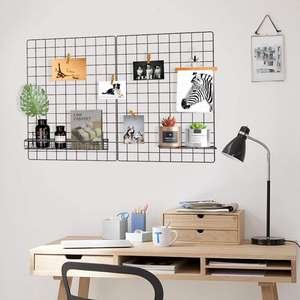 Grid Wall Decorative, Iron Rack Clip Photograph Wall, Hanging Photo Wall