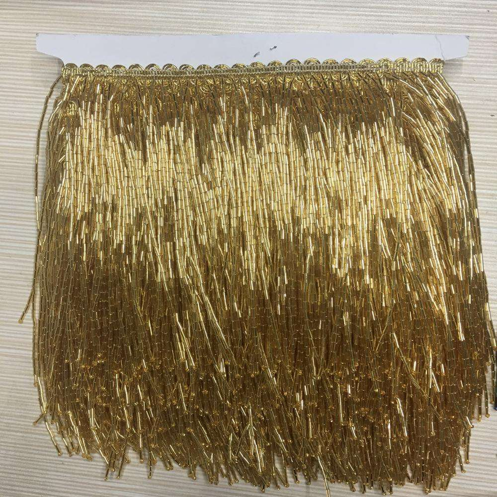 Wholesale Glass Beaded Fringe By the Foot, Silver-Lined Golden Trim Fringe