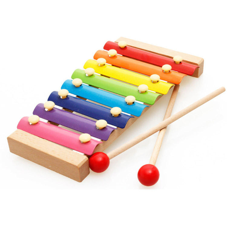 Chinese Wholesale mini kids percussion musical instrument wooden toy xylophone with 8 tones