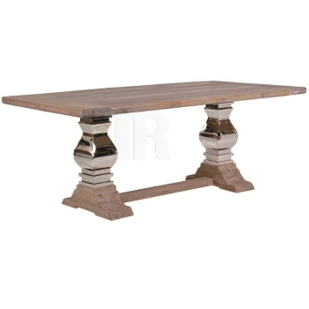 Reclaimed solid elm wood plank top with pail stainless steel leg pedestal natural finish dining table