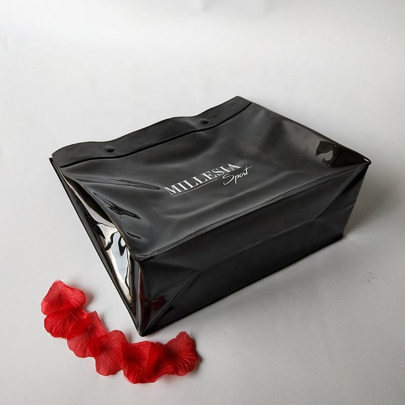 custom underwear packaging glossy black pvc plastic bag with metal snap button
