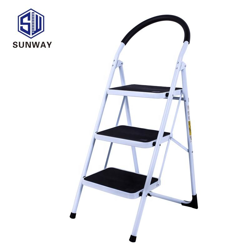 3 steps collapsible step stool ladder for domestic use is certified to EN131