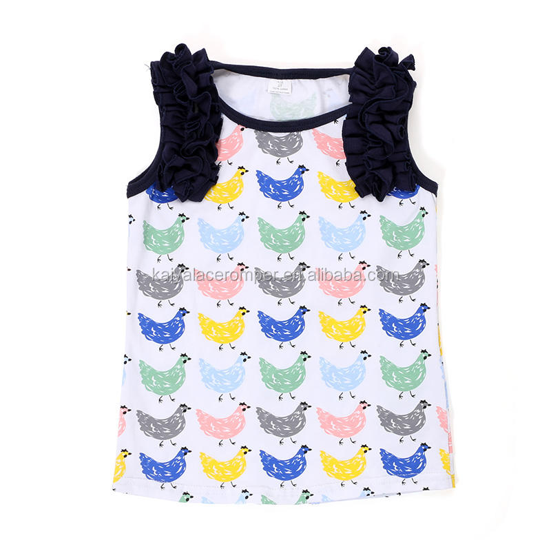 cotton ruffled baby fancy summer shirts wholesale kids clothes new fashion girls tops