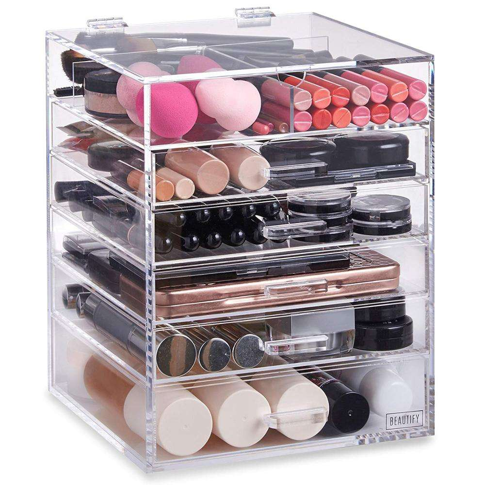 2018 Trends Manufacturer 6 Tier 5 Drawers Clear Cube Acrylic Cosmetic Makeup Drawer Organizer
