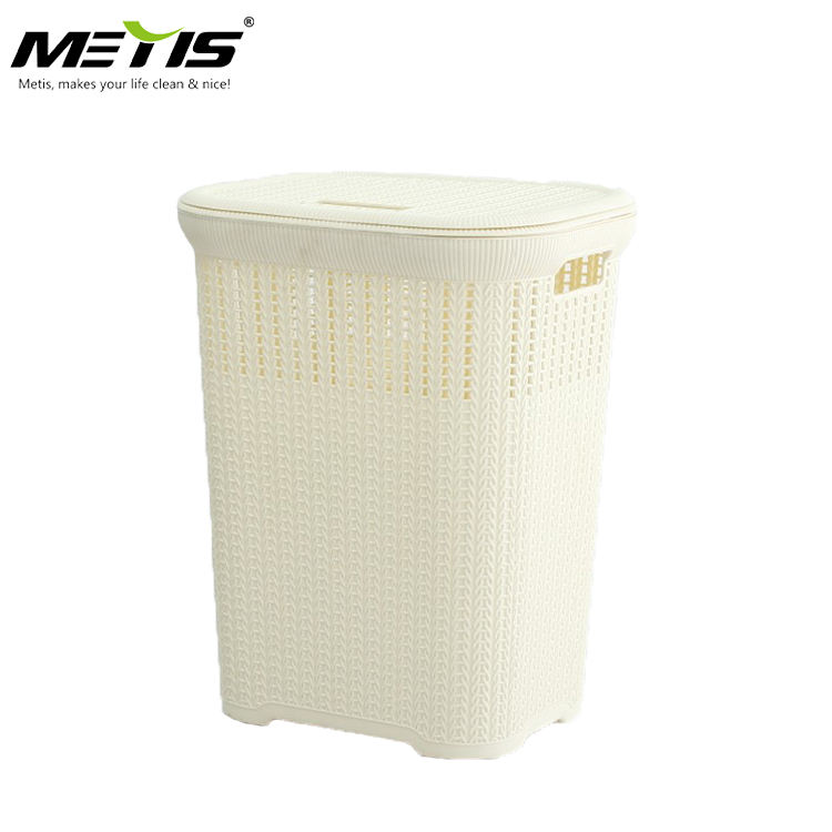 Metis A8009 High Quality Plastic Woven Plastic Laundry Hamper Storage Basket with Cover