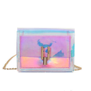 Hot Sale Fashion Transparent Jelly Women Plastic Shoulder Clutch bag With Chain