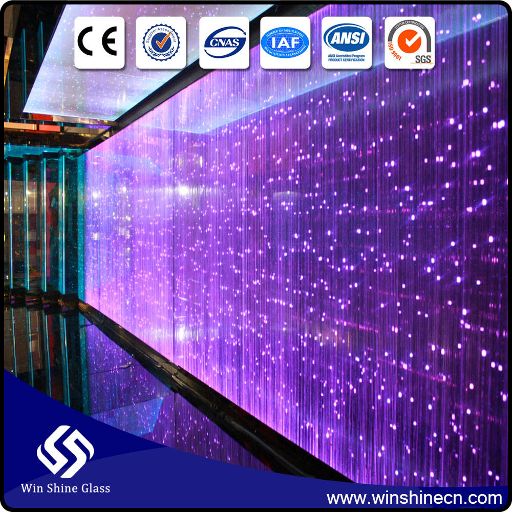 Energy-saving twinkle transparent led glass, glass with led lights for curtain wall