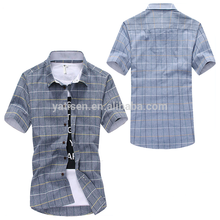 OEM new design custom Mens casual plaid shirts short sleeve 100% cotton plaid men shirts