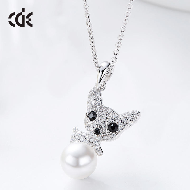 CDE Factory Wholesale 925 Silver Cute Dog Pearl Jewelry Necklace
