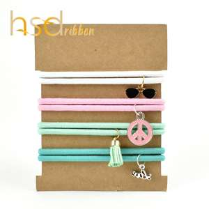 HSDRibbon Professional custom Solid Elastic Hair Bands with Accessories