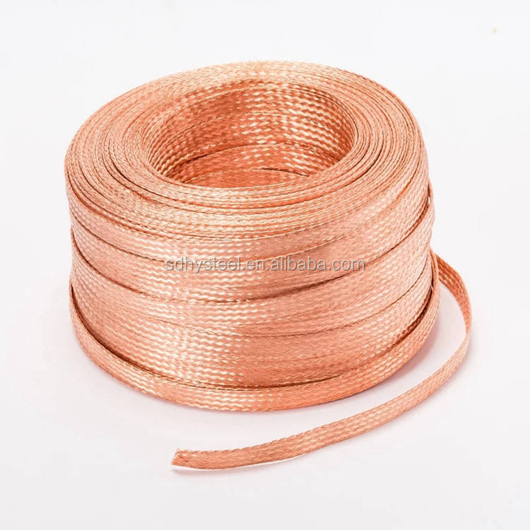 """50 FEET 3//4/"""" BRAIDED GROUND STRAP GROUNDING Bare Copper Flat Braid MADE IN USA"""