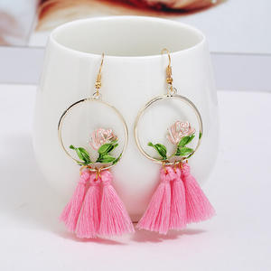 Bohemian Alloy Round Rose Fringed Earrings