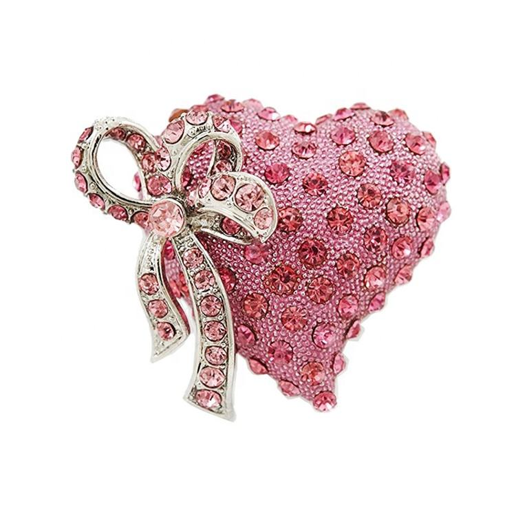 Valentine's Day Gift Romantic Pink Crystal Rhinestone Heart Bow Brooch