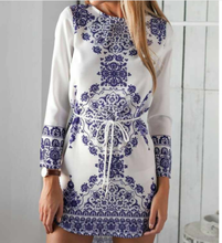 New Suit-dress Blue And White Porcelain Long Sleeve sexy party beach Dress women Summer clothes for ladies dresses