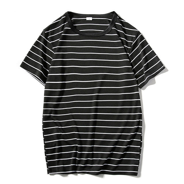 Summer New Men's Oversized Short Sleeve Striped T shirts Men Full Cotton Low Price O-Neck T-shirts Casual Tee
