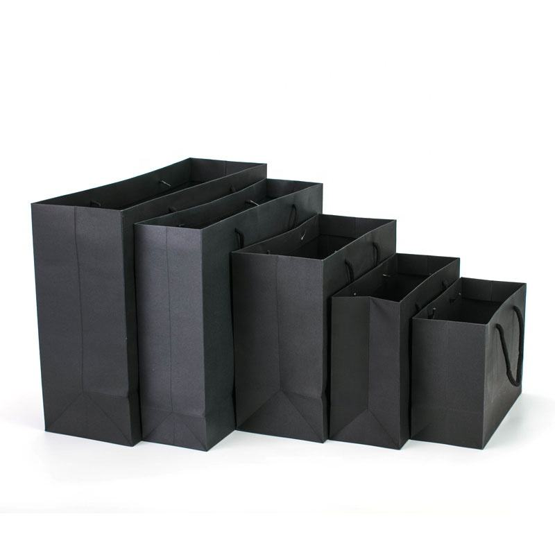 Manufacturer Custom Personalized Printed LOGO White Cardboard Shopping Gift Black Paper Bag