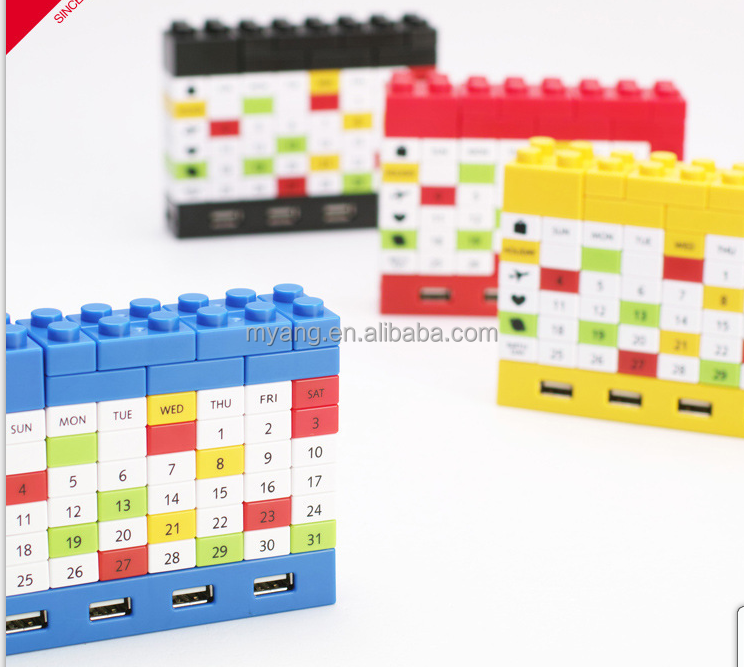 Creative USB HUB DIY blocks usb 2.0 hub calendar with bluetooth/usb hub with cable/Executive DIY desk calendar 2015