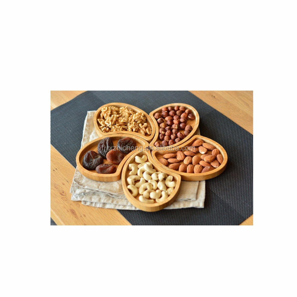 Wholesale Modern Bamboo Nuts and Snacks Serving Tray Plate