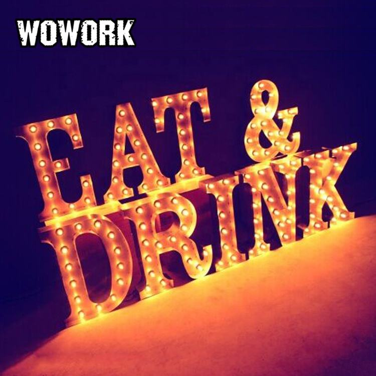 WOWORK outdoor window dressing custom led rustic wall hanging sign marquee light for shop front