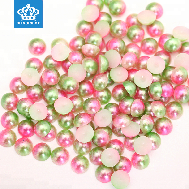 hot sale loose pearls black color 8mm half round pearl loose ABS/plastic half round bead for cellphone