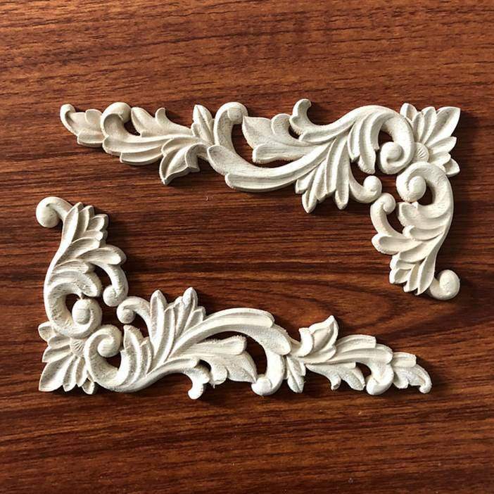 Decorative Wood Corner Onlays Appliques Furniture Accessories Carved Inlays