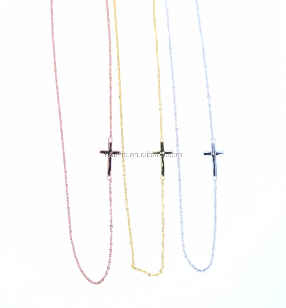 high quality 2017 925 sterling silver top quality simple sideway cross silver chain necklace