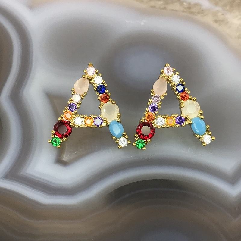 2019 Popular Multicoloured alphabet earbob for girls fashion Initial Letter Jewelry Earrings For Women lady