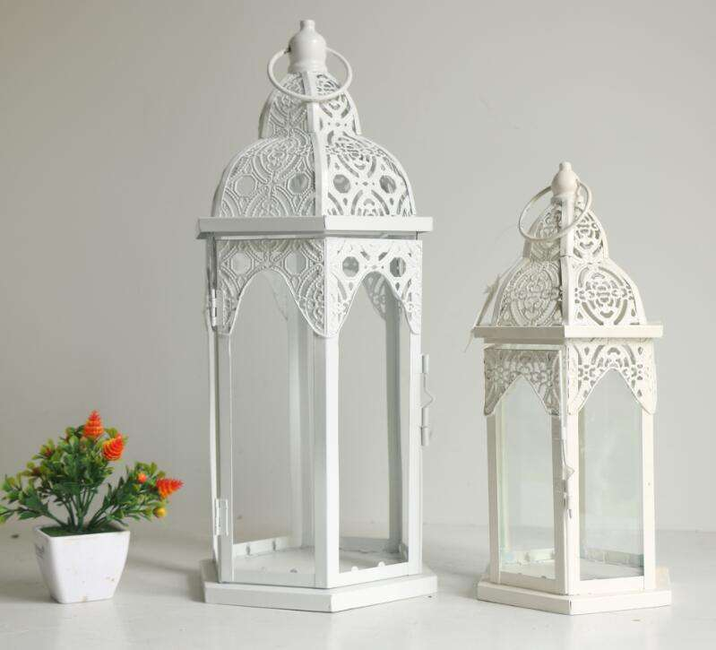 White hexagonal Moroccan style metal lantern for wedding indoor decoration