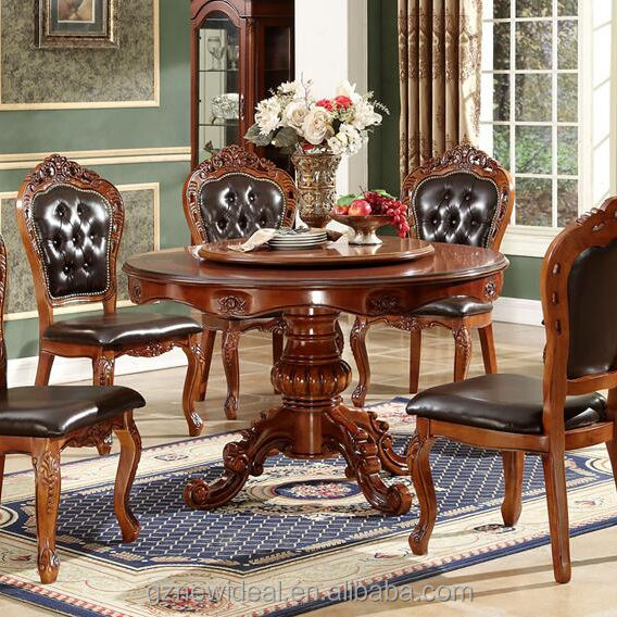 Solid wood luxury dining table set with rotating centre NG5631& NG2880