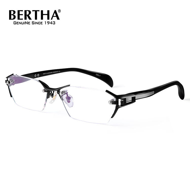Bertha Clear Frame Glasses 무테 Frame 티타늄 Business Glasses Frame 광 안경 처방 Eyewear