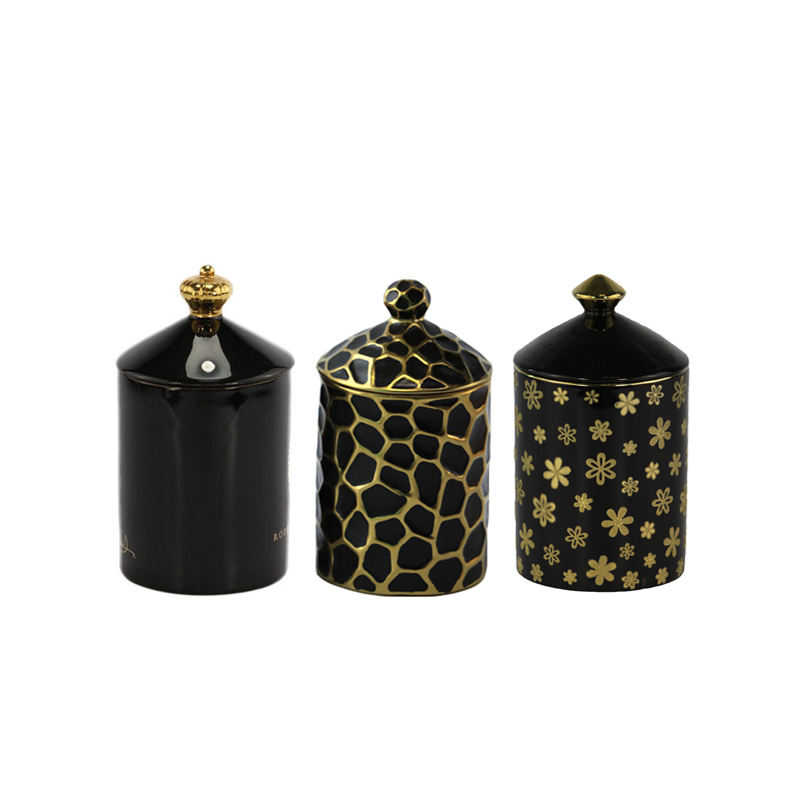unique empty scented ceramic candle jars black candle holder with lid & gift box