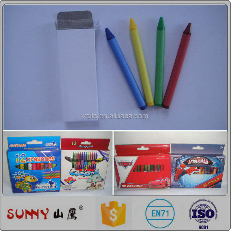 Jumbo Wax Crayon Set/ 4pcs Jumbo Crayons in a White Paper /color Box
