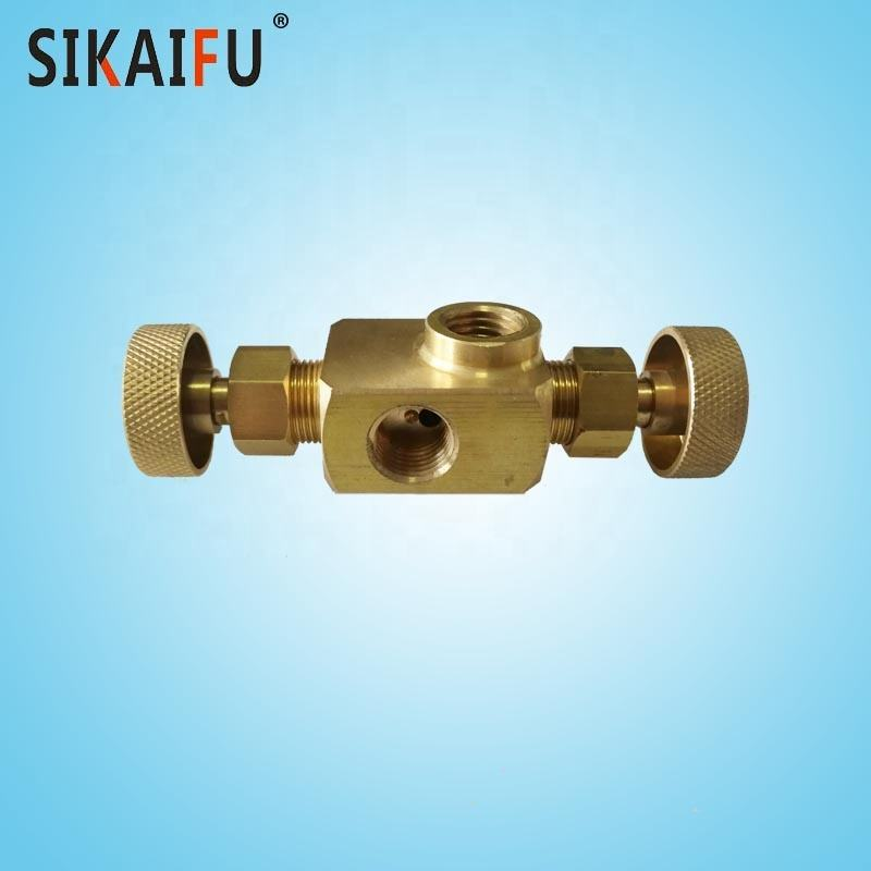 3 way needle valve with 1/4 port brass gas valve for burner used in home kitchen
