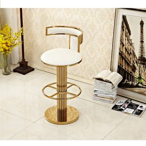 hot high back T shape brass gold stainless steel luxury swivel bar stool