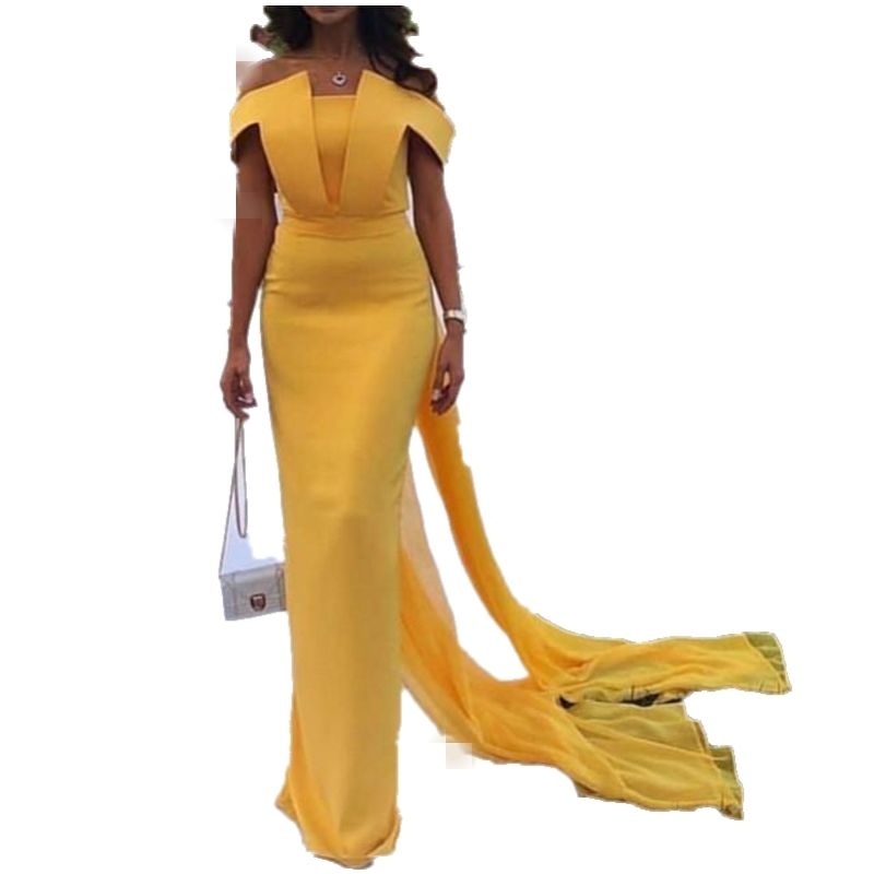 Dubai Saudi Arabic Evening Dresses Yellow Formal Prom Dress Party Event Gowns Robe De Soiree