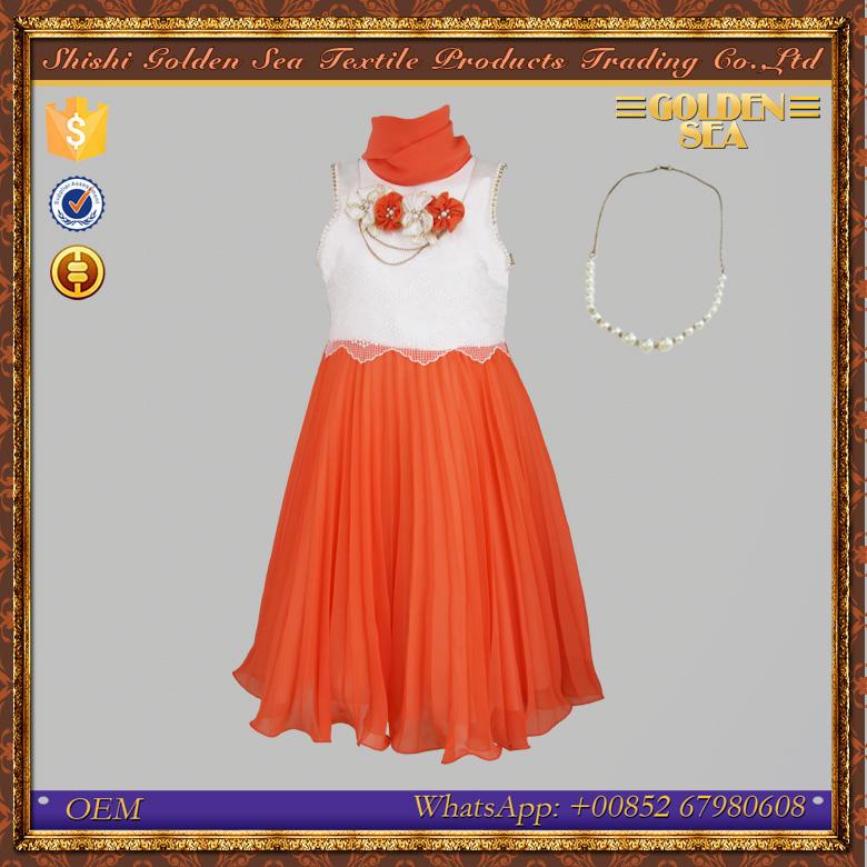 Venta caliente adorno de la flor del cordón de la gasa vestido de cumpleaños para la muchacha de 7 años de edad
