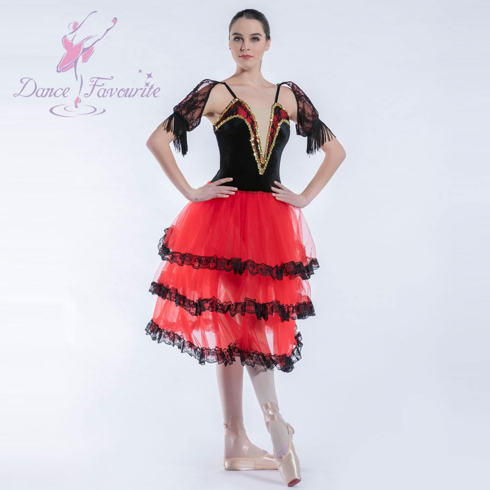 19023 Top quality girls and women spanish dress red long ballet tutu ballerina costume