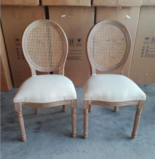 Rattan Back WOODEN LOUIS CHAIR