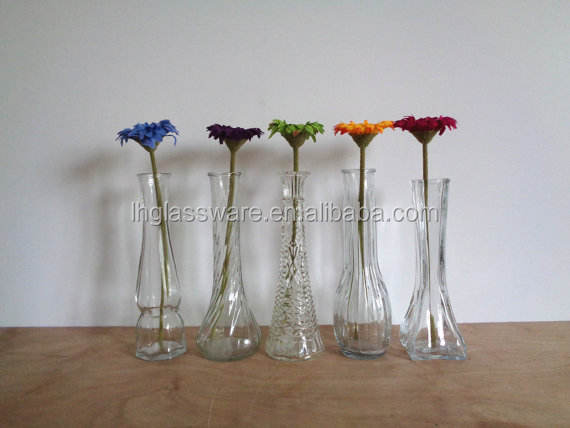 Clear Glass Vases Collection of Five - Set 1 - Vintage Home Office Wedding Party Special Occasion Decor Tablescape