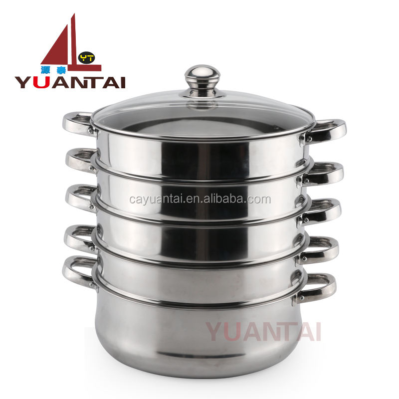 Wholesale of high quality 4 layer cooking steamer stainless steel food steamer steamer pot with lid