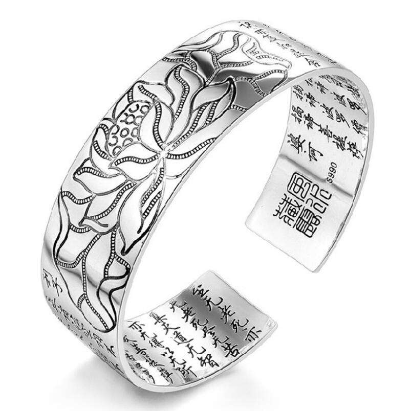 925 Sterling Silver Jewelry Chinese Design Silver Lotus Tibetan Buddhist Scriptures Bracelet Open Wide Bracelet