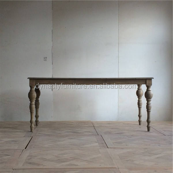 recycled wooden antique french style dining table with thin legs