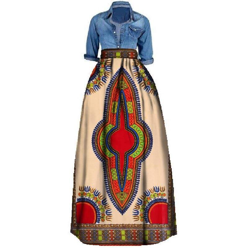 2018 hot sale new style wax print fabric african dress designs traditional long women skirt
