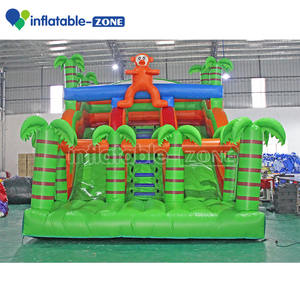 Gonflable plus grand toboggan jungle world 3 voies glissière sautante gonflable