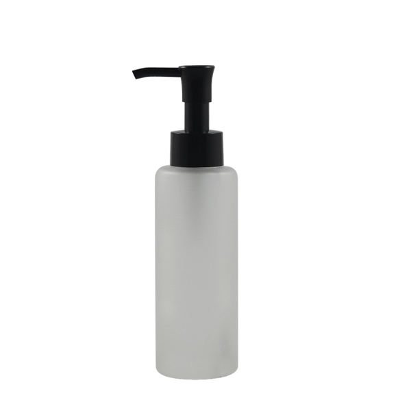 Fuyun Ready to Ship High End Cylinder Shape 100m Frosted Glass Shampoo Lotion Bottles